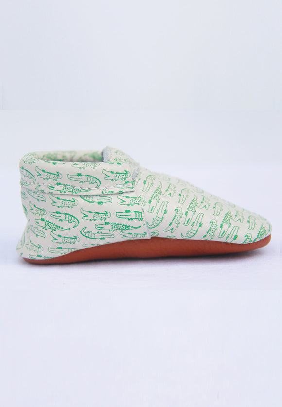 Crocodile Printed Mokksies Moccasins Baby Shoes