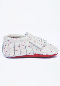 Red hearts Printed Mokksies Moccasins Baby Shoes