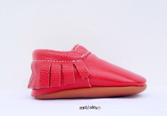 Red Moccasin Mokksies Baby shoes side view