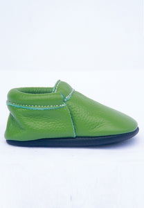 Avocado Green Mokksies Moccasin Soft Sole Baby Shoes