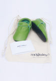 Avocado Green Moccasin Soft Sole Baby Shoes with Bag