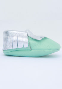 Mint and Silver Mokksies Moccasins Baby shoes