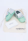 Mint and Silver Mokksies Moccasins Baby shoes with Bag
