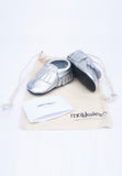 Silver Mokksies Mocassins Baby Shoe With Bag