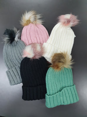 Girls/Ladies Knit Beanie with Fur Pom - Innocence and Attitude