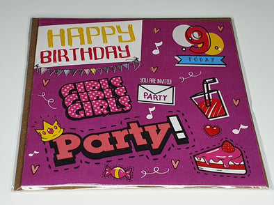 Girls Happy 9th birthday card - Innocence and Attitude