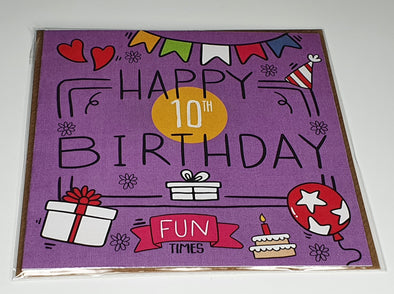 Girls Happy 10th birthday card - Innocence and Attitude