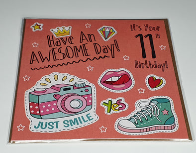 Girls Happy 11th Birthday Card - Innocence and Attitude