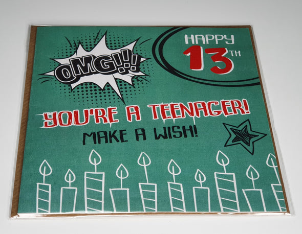 Boys Happy 13th Birthday Card - Innocence and Attitude