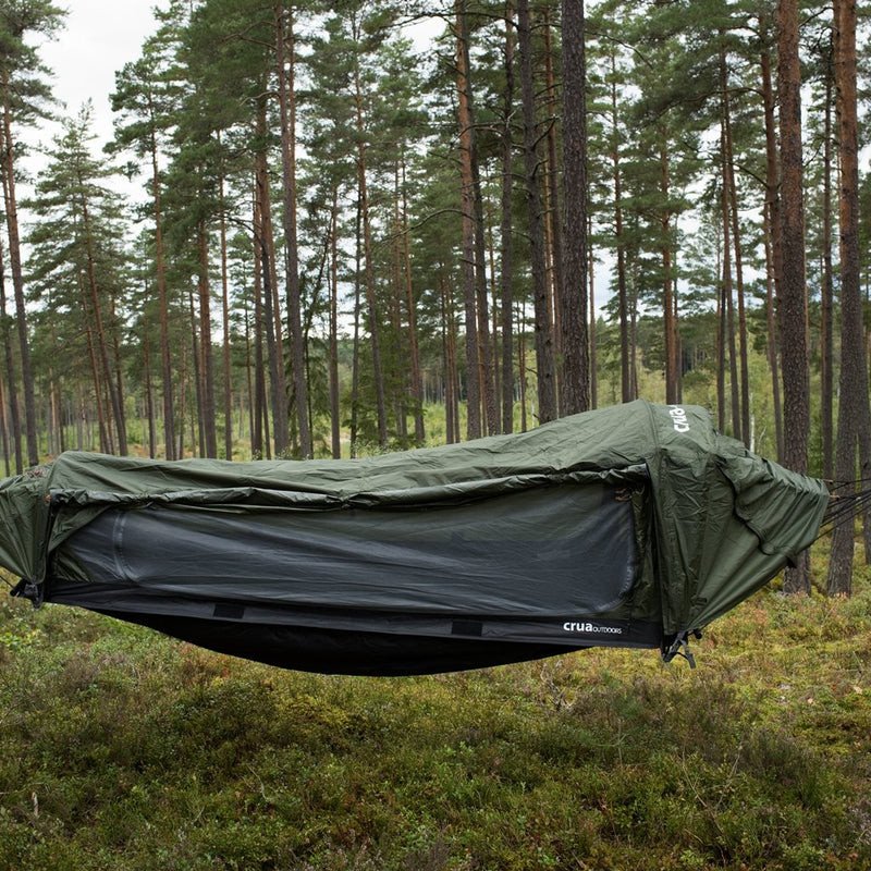 Tree suspended hanging off the ground hammock best c&ing experience & The Crua Hybrid - Tent with Bug Mesh Sleeping Bag u0026 Air Mattress ...