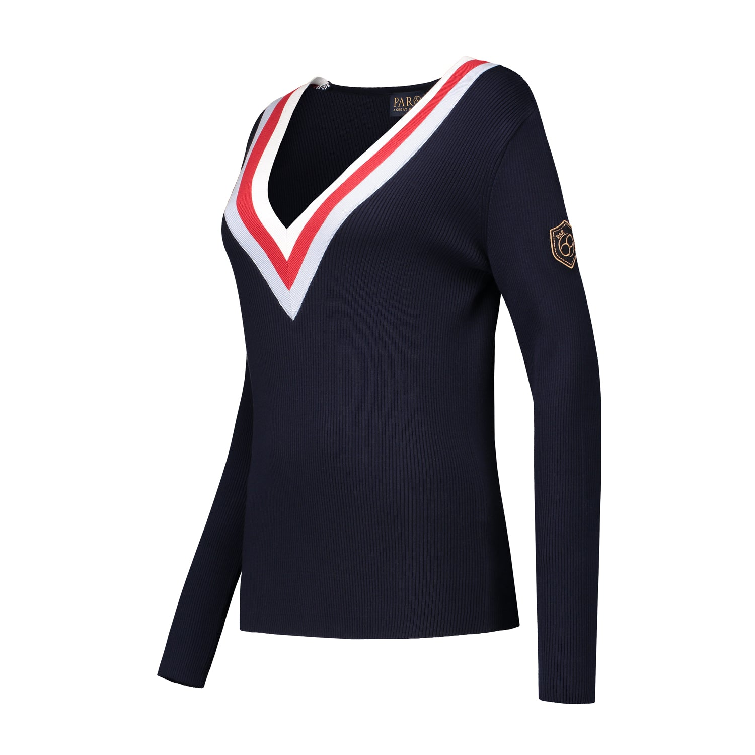Belle pullover in navy with red