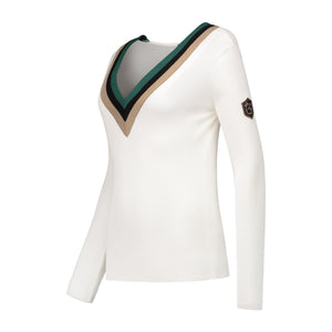 Belle pullover in off-white with green