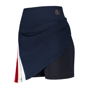 Blair Skirt in navy blue with red and white