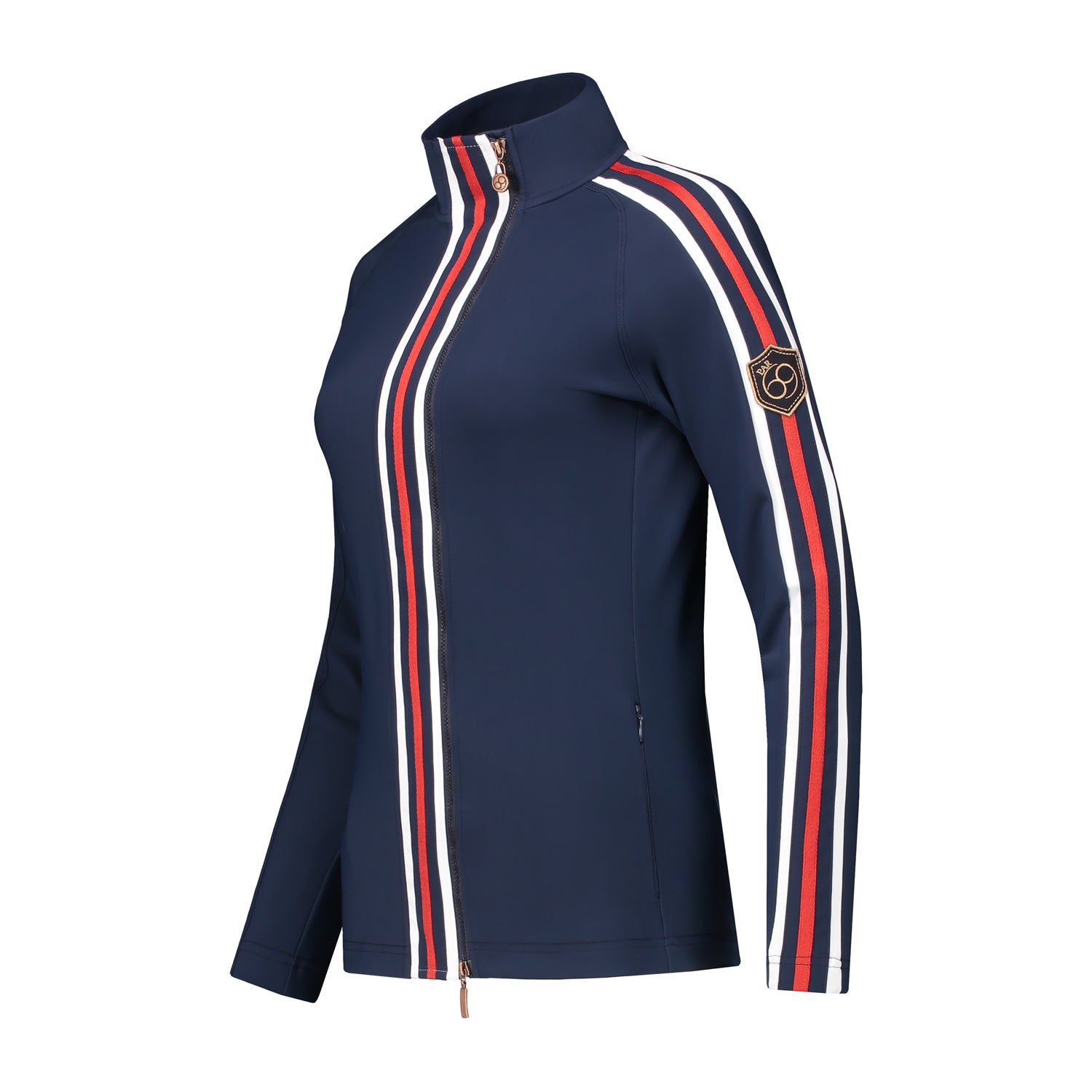 Borg jacket in navy blue with white and red
