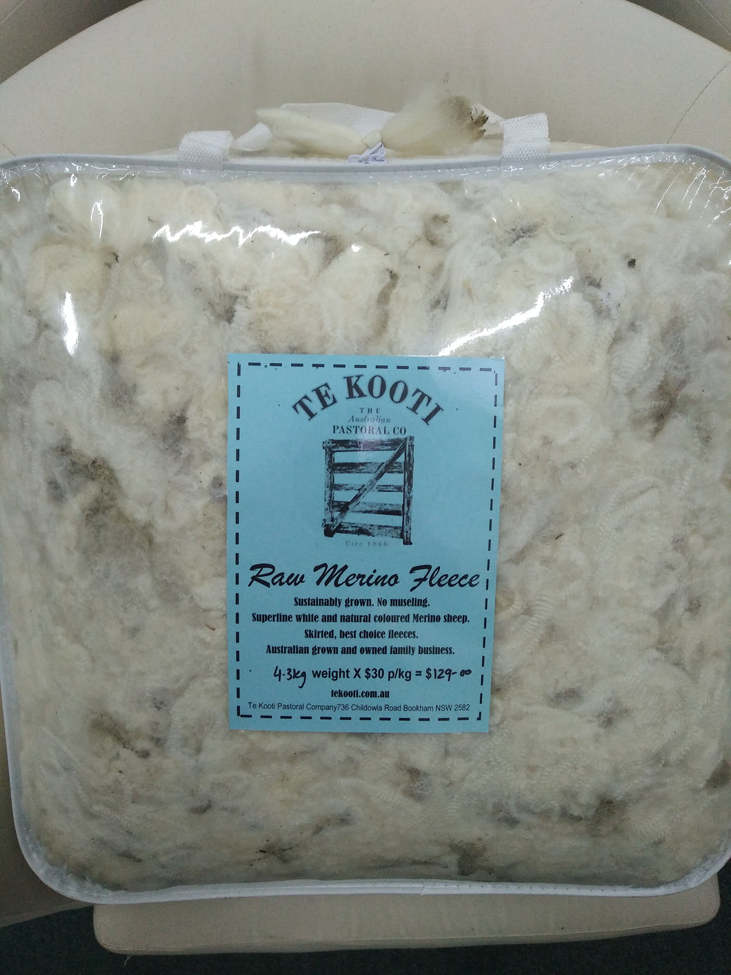 Raw Fleece - White - 4.3KG
