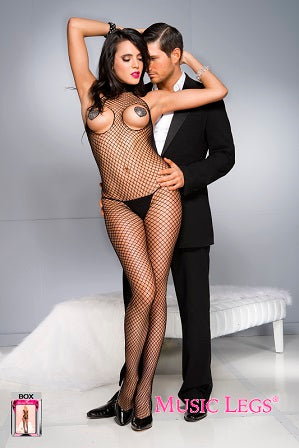 Music Legs Lingerie Peek A Boo Diamond Net Turtle Neck Bodystocking ML1031