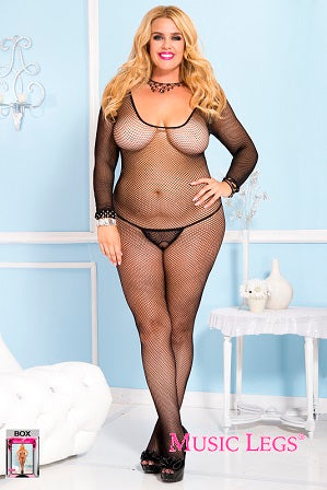 Music Legs Plus Size Long Sleeve Fishnet Bodystocking ML1791Q