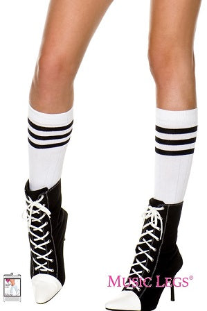 Music Legs Hosiery Acrylic Knitted Triple Stripe Knee High Socks ML5726