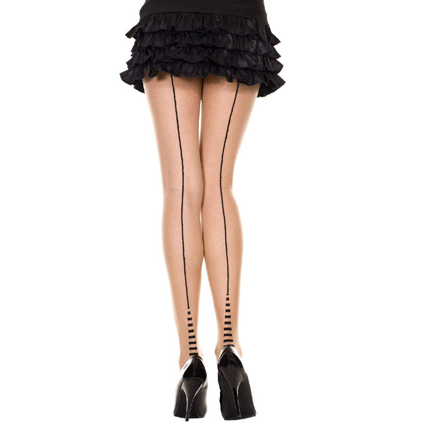 Music Legs Backseam and Striped Cuban Heel Pantyhouse Beige Black 7340