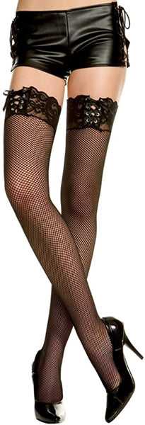 Music Legs Lace Top With Ribbon Lacing Fishnet Thigh High Black 4980