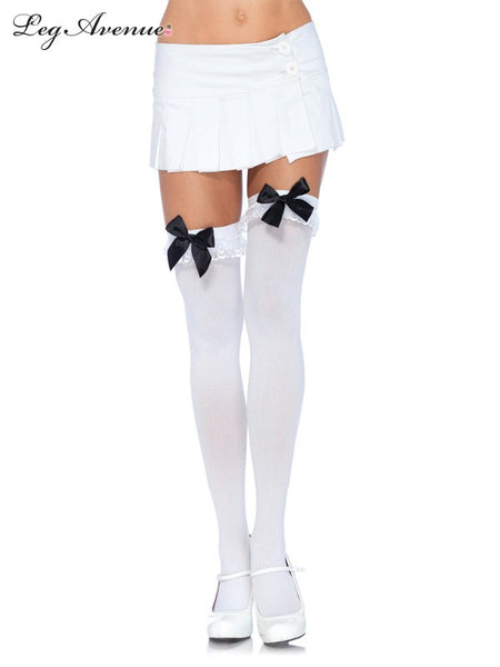 Leg Avenue Nylon Thigh High Stockings with Bow & Lace Ruffle 6262