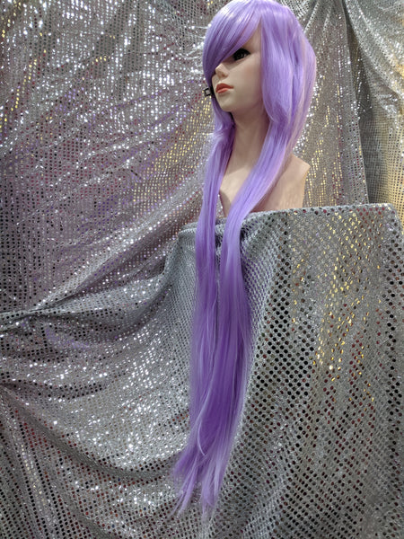 "Lavender 40"" Straight Heat Resistant Wig With Bangs"