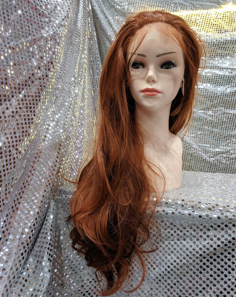 "Copper 24"" Wavy Heat Resistant Lace Front Wig With Baby Hairs"