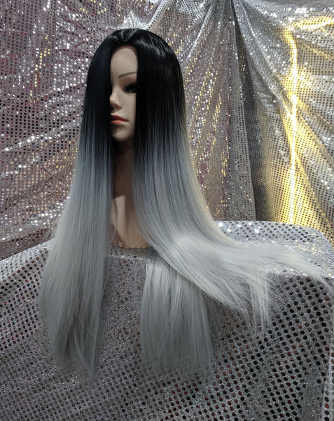 "Grey Ombre 26"" Straight Heat Resistant Wig"
