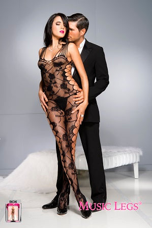 Music Legs Lingerie Spandex Strappy Side Cut Out Rose Design Bodystocking 1027