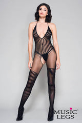 Music Legs Striped Halter Neck Crotchless Bodystocking 1049