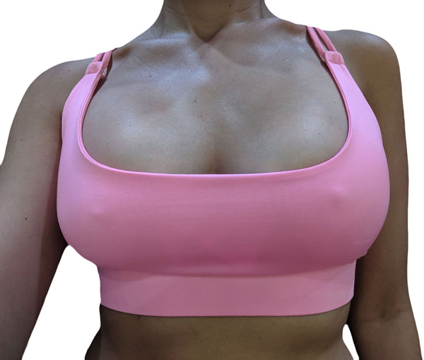 Pink Knotted Back Sports Bra