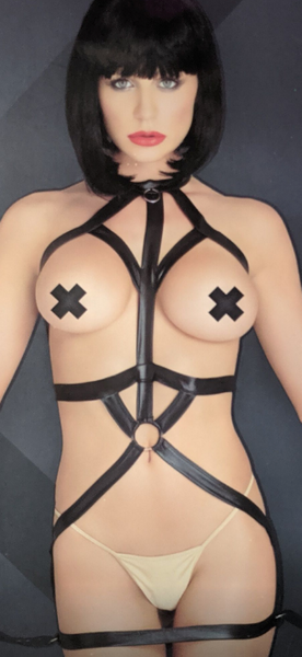 Leg Avenue Kink Wet Look Bondage Harness Dress with Restraint Wrist Cuffs K14024