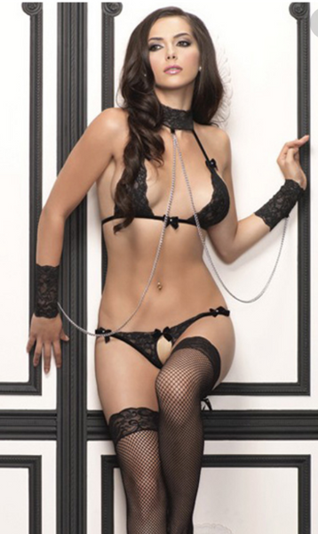 Leg Avenue 3-Piece Lace Halter Bra with Wrist Cuffs and G-String 81309