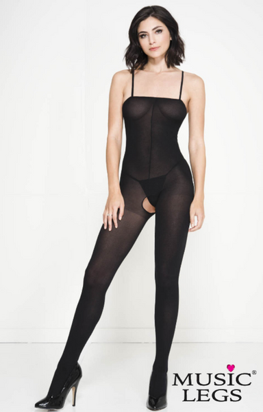 Music Legs Spaghetti Strap Opaque Bodystocking Black ML1747