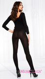 Music Legs Opaque Scooped Neck Long Sleeve Bodystocking ML1774