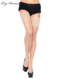 Leg Avenue Spandex Sheer Thigh Highs with 5 Inch Silicone Stay Up Lace Top 9750
