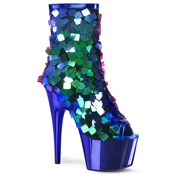 ADORE-1031SSQ  Iridescent Green Sequins-Royal Blue MetPu/Royal Blue Chrome