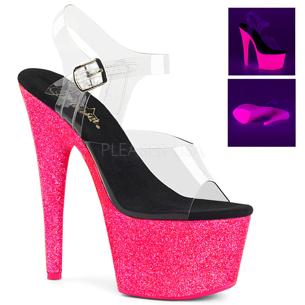 ADORE-708UVG Clear/Neon Hot Pink Glitter
