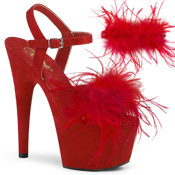 ADORE-709F  Red Faux Suede-Feather/Red Faux Suede