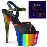 ADORE-709RC-02  Black Faux Leather/Rainbow Chrome