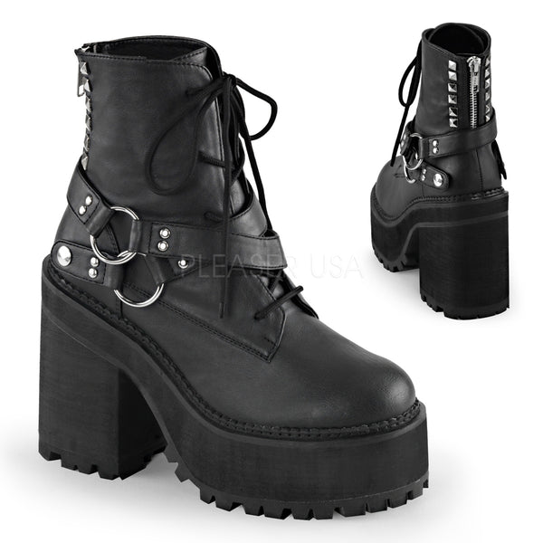 ASSAULT-101  Black Vegan Leather