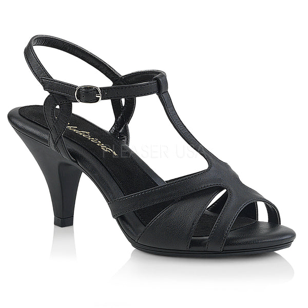 BELLE-322  Black Faux Leather/Black Matte