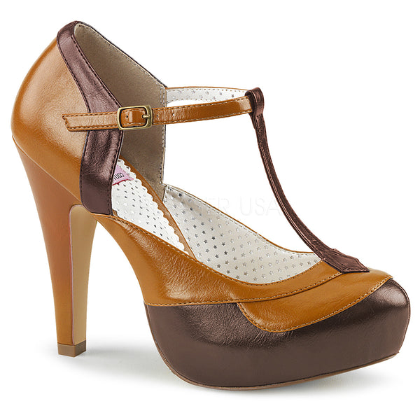 BETTIE-29  Dark Brown-Maple Faux Leather