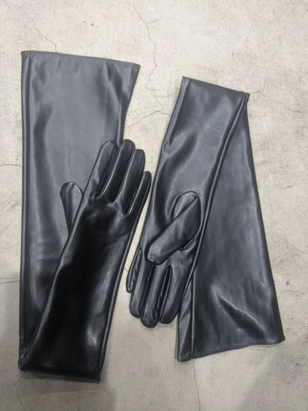 Black Matte Armpit Length Vegan Leather Gloves Small/Medium