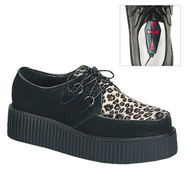 CREEPER-400  Black Suede-Cheetah Fur