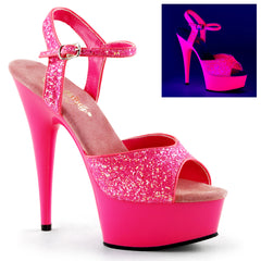 DELIGHT-609UVG  Neon Hot Pink Glitter/Hot Pink