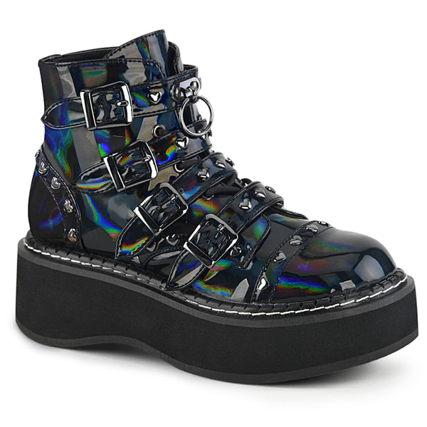 EMILY-315  Black Hologram Vegan Leather