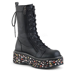 EMILY-350  Black Vegan Leather-Floral Fabric