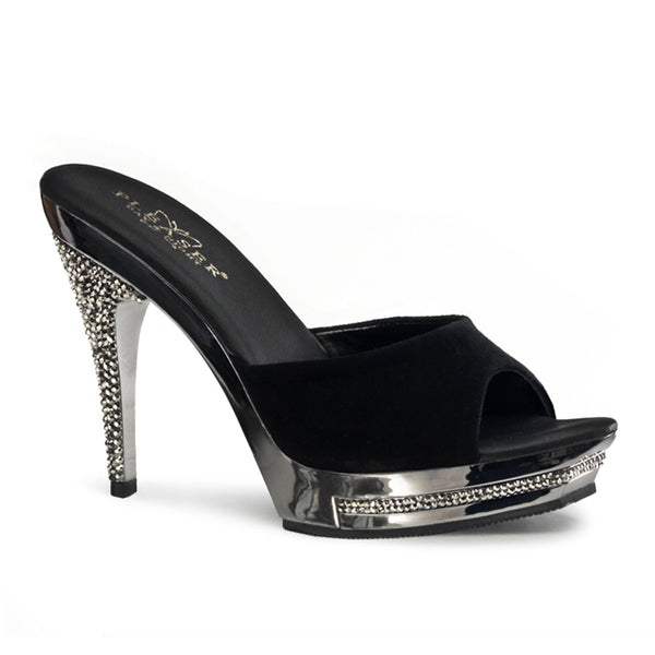 FAME-401M  Black Suede/Pewter Chrome