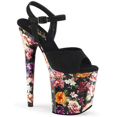 FLAMINGO-809WR  Black Faux Suede/Flower Print Wrapped